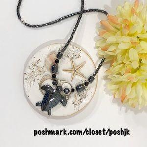 Sea Turtle Carved Hematite Necklace